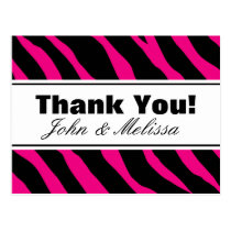 Thank you postcards with hot pink zebra stripes