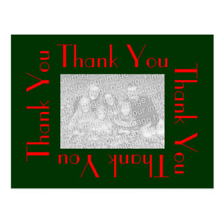 Thank You Postcards with photo - Green and Red