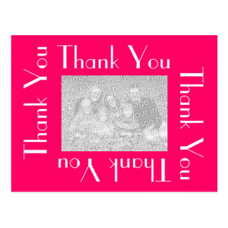 Thank You Postcards with photo - Pink and White