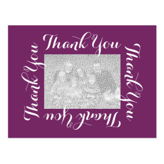 Thank You Postcards with Photo - Purple Script