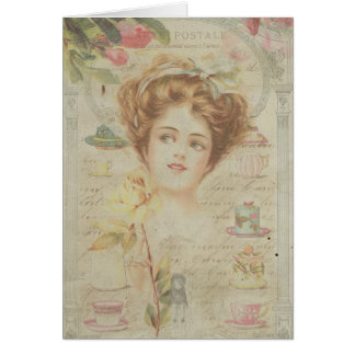 Thank You Pretty Lady Vintage China Shabby Collage Card