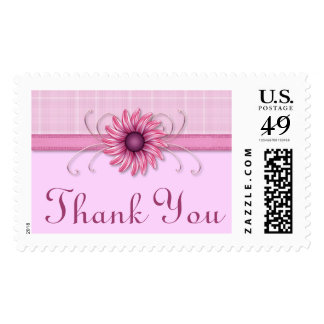 Thank You Pretty Pink Daisy Custom Postage