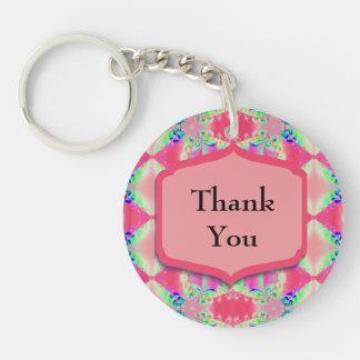 Thank You Pretty Pink Pattern Acrylic Key Chains