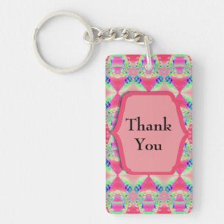 Thank You Pretty Pink Pattern Rectangular Acrylic Key Chains