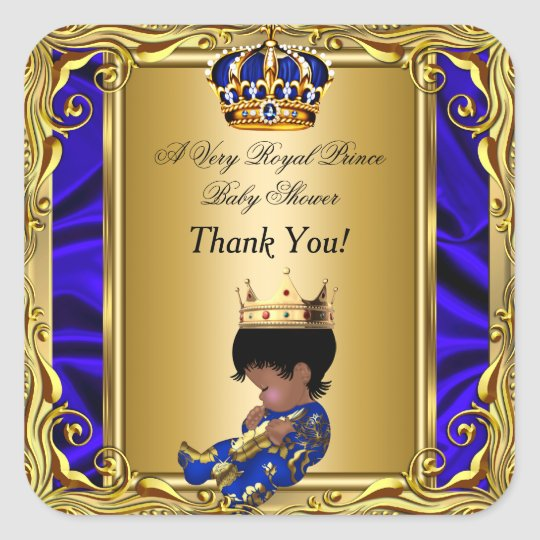 thank you prince royal blue baby shower regal gold square