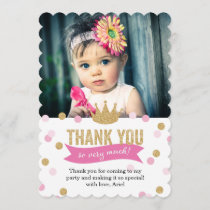 Thank You | Princess Crown Glitter Photo Scalloped