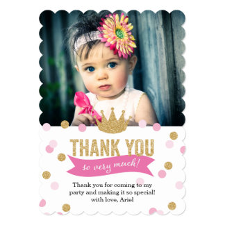 Thank You   Princess Crown Glitter Photo Scalloped 5x7 Paper Invitation Card
