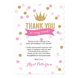 Thank You | Princess Crown Glitter Scalloped Card