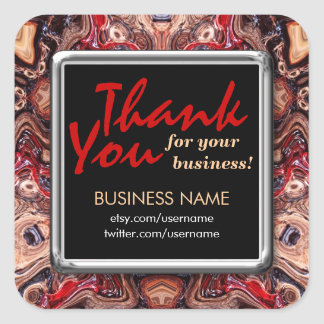 Thank You Psychedelic Grain Busines Square sticker