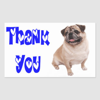 Thank You Pug Puppy Dog Greeting Sticker / Label