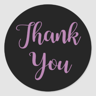 Thank You Purple & Black - Wedding Party, Business Classic Round Sticker