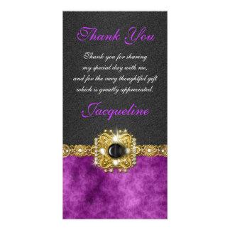 """thank you"" purple black wedding party photo card"