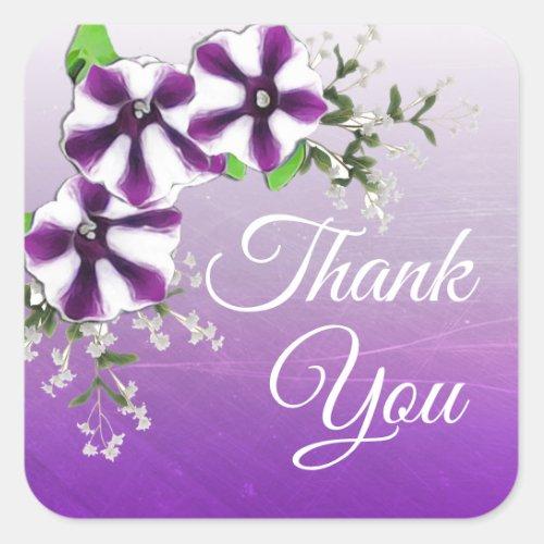 Thank You Purple Floral Petunia Square Sticker
