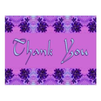 thank you purple flowers postcard