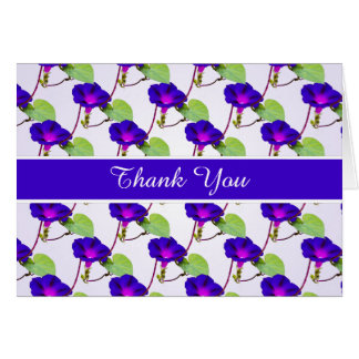 """""""Thank You"""" Purple Morning Glory Pic Party Theme Card"""
