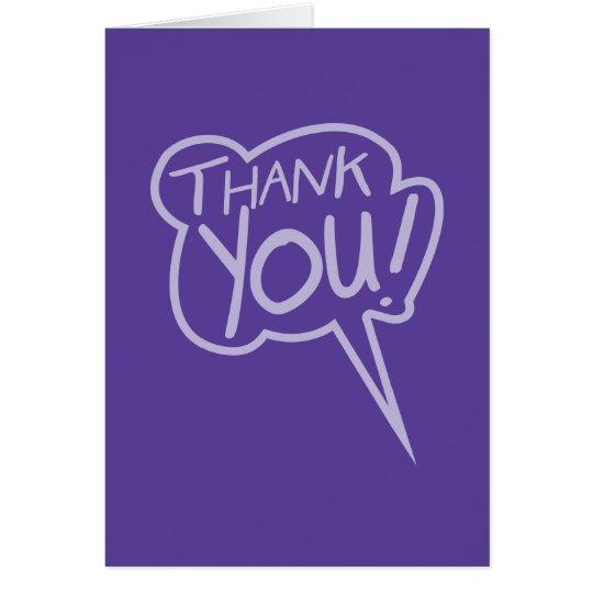 thank you purple speech bubble card