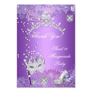 Thank You Purple Sweet  Sixteen 16 Masquerade 3.5x5 Paper Invitation Card