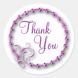 Thank You/Purple Swirl Classic Round Sticker