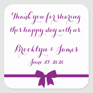 Thank You Purple Wedding Favor Stickers With Bow