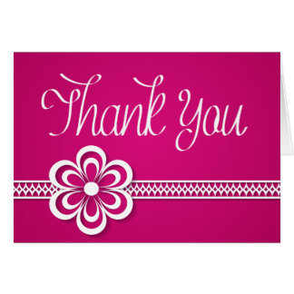 Thank You Purple White Floral Lace Note Card