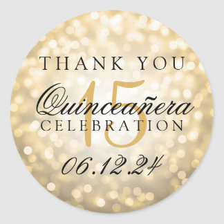 Thank You Quinceanera Birthday Gold Bokeh Lights Classic Round Sticker