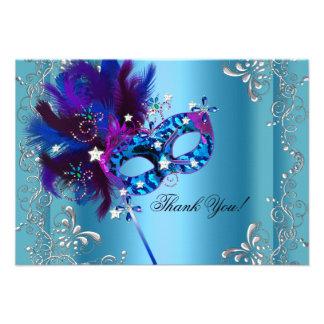 Thank You Quinceanera Party Masquerade Blue Custom Invites