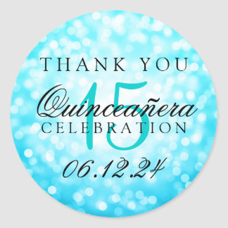 Thank You Quinceanera Turquoise Bokeh Lights Classic Round Sticker
