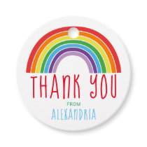 Thank You Rainbow Birthday Party Girls Colorful Favor Tags