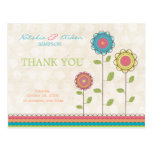 Thank You Rainbow Colorful Tall Flowers Postcard