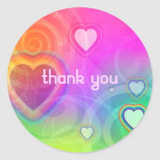 thank you - rainbow heart classic round sticker