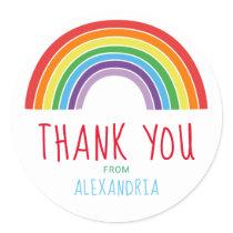 Thank You Rainbow Kids Birthday Party Classic Round Sticker