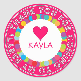Thank You Rainbow Sticker for Kids Party