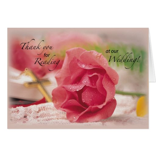 Thank You. Reading at Our Wedding, Rose, Religious Card