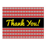 "[ Thumbnail: ""Thank You!"" + Red and Gray Diamond Shape Pattern Postcard ]"