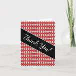 """[ Thumbnail: """"Thank You!"""" + Red and Gray Diamond Shape Pattern Card ]"""