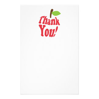 Thank You Red Apple For Teacher Appreciation Stationery