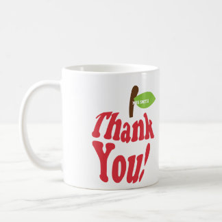 Thank You Red Apple Typography Teachers Mug