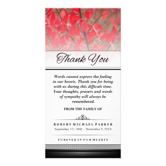 Thank You Red Autumn Leaves Words Cannot Express Photo Card Template
