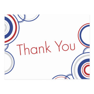Thank You - Red & Blue Circles Postcard