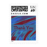 Thank You Red Blue Color Swish abstract Postage