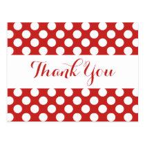 Thank You Red Burgundy & White Polka Dots Postcard
