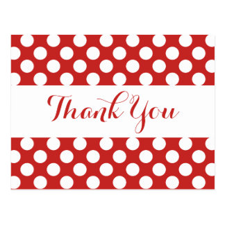 Thank You Red Burgundy & White Polka Dots Postcard