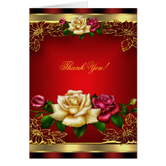 Thank You, Red Cream Roses Gold Elegant 6 Card