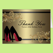 Thank You Red Dancing Shoes - 50th Birthday Card