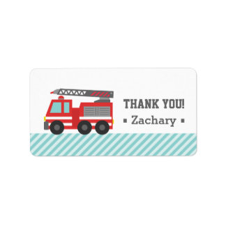 Thank You, Red Fire Truck Address Label
