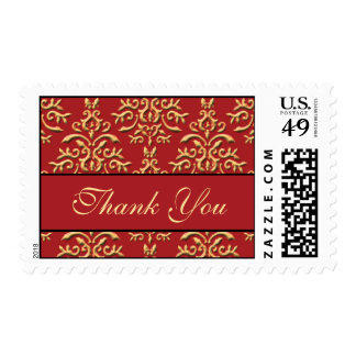 Thank You Red Gold Damask Postage Stamps