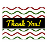"""[ Thumbnail: """"Thank You!"""" + Red & Green Wavy Lines Pattern Postcard ]"""
