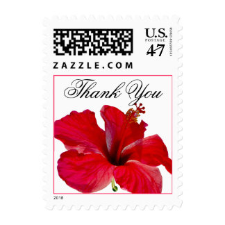 Thank You Red Hibiscus Stamp