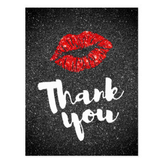 thank you red lips on black glitter postcard