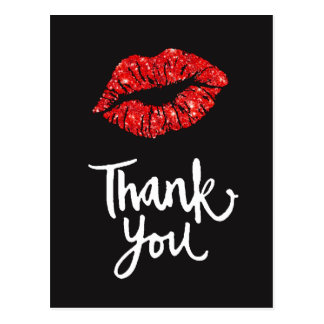 thank you red lips on black postcard